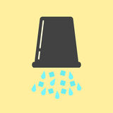 Inverted black bucket with ice and water. Concept of ice bucket challenge. isolated on yellow background. vector illustration Royalty Free Stock Photography