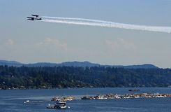 Inverted Blue Angels at August 2018 Seattle Seafair Air Show. Inverted Blue Angels precision pilots in Seattle at August 2018 Seafair Air Show royalty free stock image