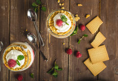 Inverted cheesecake dessert in glass Royalty Free Stock Photo