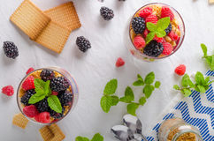Inverted cheesecake in glass. With forest fruit and delicious cookies stock photos