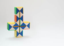 Inverted cross twist game. In white background stock images