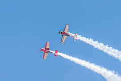 Inverted Extra EA 300 aircraft fly-by Stock Image