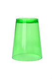 Inverted Green Plastic Cup. On White Background royalty free stock images