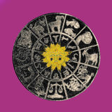 Inverted horoscope wheel. Black zodiac wheel with clipping path included royalty free stock photo
