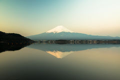 Inverted image of Mt  Fuji, View from lake Kawaguchi Stock Photo