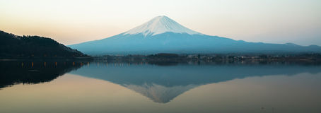 Inverted image of Mt  Fuji, View from lake Kawaguchi Royalty Free Stock Photos