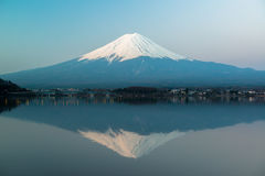 Inverted image of Mt  Fuji, View from lake Kawaguchi Royalty Free Stock Images