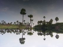 The inverted lake. A prefect shot of a lake that looks like a mirror image Royalty Free Stock Photo