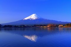 Inverted Mt. Fuji in the Morning with blue sky fine weather from `Ubuyagasaki` royalty free stock image
