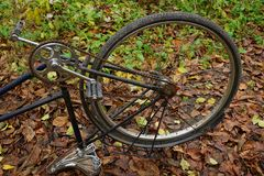 Inverted old bicycle with a wheel on dry grass in the open air Stock Photography