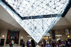 Inverted pyramid at Le Carrousel Du Louvre (Louvre Mall), Paris, France. Light shines through and enhances the inverted pyramid at the hub of the Louvre Mall Royalty Free Stock Photo