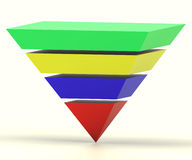 Inverted Pyramid With Segments Shows Hierarchy Royalty Free Stock Photos