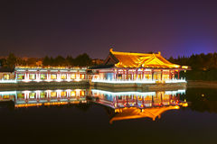 The inverted reflection in water night xian Royalty Free Stock Photos