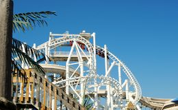 Inverted Rollarcaoster. An Inverted roller coaster at an amusement park Stock Photography