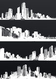 Inverted set of black and white panorama cities. Royalty Free Stock Image