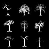 Inverted tree collection. Nine inverted tree shapes for editing Royalty Free Stock Photography