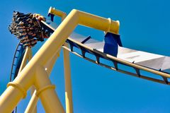 After an inverted turn downhill at high speed in Montu at Bush Gardens Tampa Bay royalty free stock photos