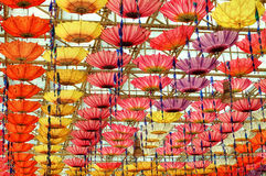 Inverted Umbrellas hanging from ceilings Royalty Free Stock Photos