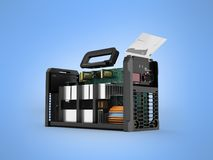 Inverter welding machine disassembled in a 3d render section on Royalty Free Stock Image