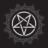 Inverterad pentagram eller pentalpha eller pentangle För utdraget forntida hedniskt symbol prickarbete för hand av denpekade stjä stock illustrationer