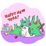 Inverterad vektorillustration för nytt år Royaltyfria Bilder