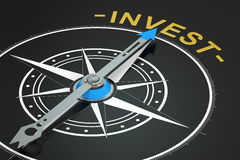 Invest compass concept. 3D rendering Royalty Free Stock Images