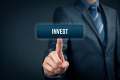 Invest. Concept. or trader click on button with text Royalty Free Stock Photo