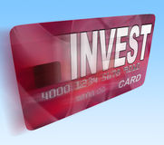 Invest on Credit Debit Card Flying Shows Investing Money Stock Photos