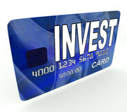 Invest on Credit Debit Card Shows Investing Money Royalty Free Stock Photos