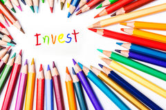 Invest, drawing by colour pencils Stock Image
