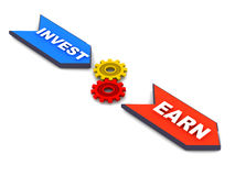 Invest and earn. Process, concept of investing in stocks and/or business on white background Royalty Free Stock Photos