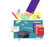 Invest in Education Concept Icon Flat Design. Investment finance, management growth, development and learn, strategy planning, career and training, financial Royalty Free Stock Photo