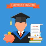 Invest in education concept. Vector illustration Royalty Free Stock Photography