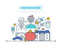 Invest in education. Financial investments in education, getting prestigious education. Invest in education. Financial investments in teaching, getting Stock Image