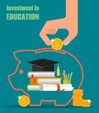 Invest in education vector concept. Stack of books Royalty Free Stock Images