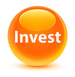 Invest glassy orange round button Royalty Free Stock Images
