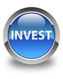 Invest glossy blue round button Stock Images