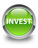 Invest glossy green round button Royalty Free Stock Photo