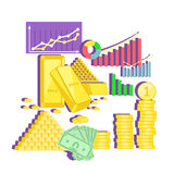 Invest in Gold Concept Icon Flat Design. Finance investment money, business and coin currency, cash wealth, golden earning, rich and income, profit treasure Stock Images