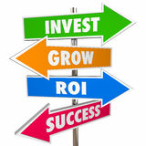Invest Grow ROI Success Arrow Road Signs. 3D Stock Photo