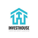 Invest house - vector business logo template concept illustration. Abstract building house and arrow sign. Real estate. Stock Images