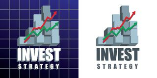Invest ideas emblem. Invest strategy emblem with text, graphs and 3d chart bars on dark blue background and variation on white. Vector illustration Stock Image