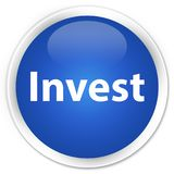 Invest premium blue round button. Invest isolated on premium blue round button abstract illustration Royalty Free Stock Photo