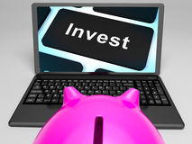 Invest Key On Laptop Showing Investment Market Royalty Free Stock Photo