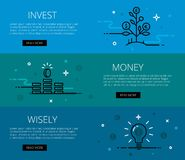 Invest money wisely. Flat line vector web banners set Royalty Free Stock Photo