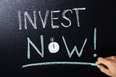 Invest Now Concept Written On Blackboard. Close-up Of Invest Now Concept With Stopwatch On Blackboard Royalty Free Stock Photos