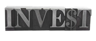 'invest' in old metal type Royalty Free Stock Photos