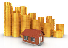 Invest in Real Estate concept. Small House with Stacks of Coins. Stock Photo