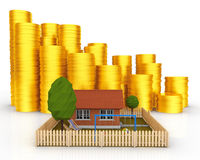Invest in Real Estate concept. Small House with Stacks of Coins. Stock Photography