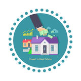 Invest in Real Estate Icon Flat Design Royalty Free Stock Photos